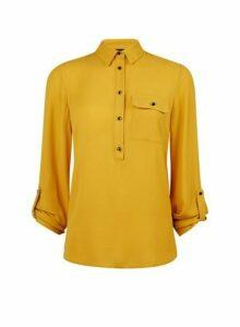 Womens Yellow Roll Sleeve Shirt- Yellow, Yellow