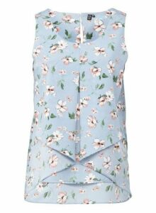 Womens *Izabel London Light Blue Floral Print Split Front Vest, Light Blue