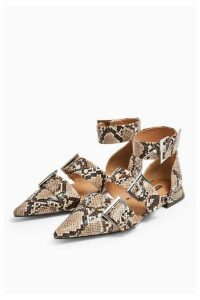 Womens Alana Snake Buckle Point Shoes - Natural, Natural