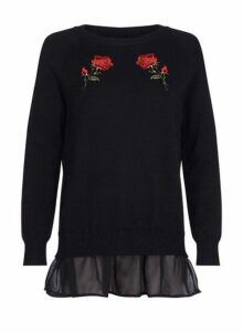Womens Quiz Black And Red Knitted Jumper, Black