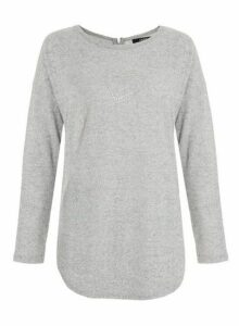 Womens *Quiz Grey Diamante Heart Jumper, Grey