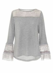 Womens *Quiz Grey Knitted Lace Frill Top, Grey