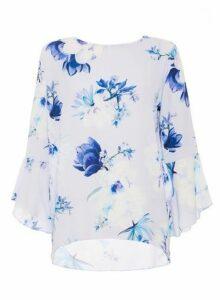 Womens *Quiz Pale Blue Floral Print Top, Blue