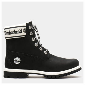 Timberland 6 Inch Logo Collar Boot For Women In Black Black, Size 8