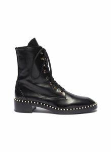 'Sondra' faux pearl leather combat boots