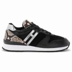 Hogan  R261 sneaker in black leather and suede and reptile print  women's Shoes (Trainers) in Black