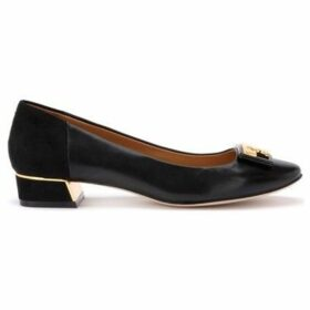 Tory Burch  Gigi ballerina with logo in soft black nappa and suede  women's Shoes (Pumps / Ballerinas) in Black