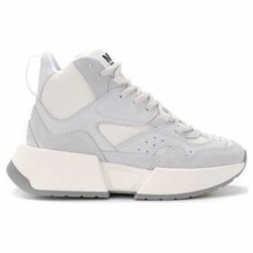 Mm6 Maison Margiela  high-top sneaker in suede and white fabric  women's Shoes (High-top Trainers) in White