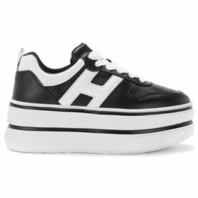 Hogan  Maxi H449 sneaker in black and white leather  women's Shoes (Trainers) in Black