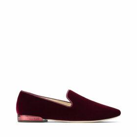 JAIDA FLAT Flache Schuhe aus bordeauxfarbenem Samt