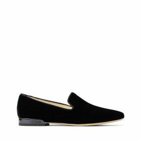 JAIDA FLAT Flache Schuhe aus schwarzem Samt