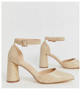 London Rebel wide fit circular heeled shoes in croc-Beige