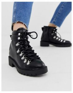 New Look lace detail chunky flat hiker boots in black