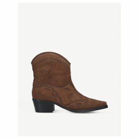 Low Texas leather heeled ankle boots