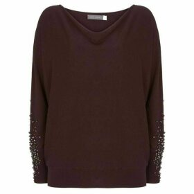 Mint Velvet Burgundy Diamante Batwing Knit