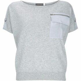 Mint Velvet Grey Military Pocket Knit