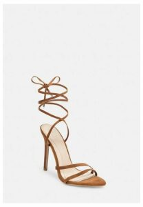 Tan Faux Suede Pointed Toe Lace Up Heeled Sandals, Tan