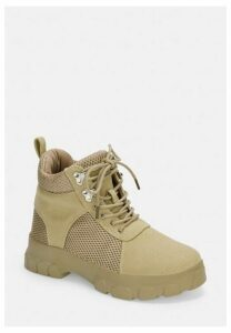 Nude Lace Up Hiking Detail Chunky Trainers, Nude