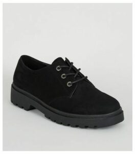 Black Suedette Chunky Lace Up Shoes New Look