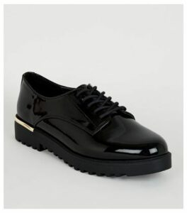 Black Patent Chunky Lace Up Shoes New Look Vegan