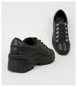 Black Leather-Look Chunky Trainers New Look
