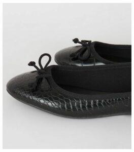 Black Faux Croc Ballet Pumps New Look Vegan