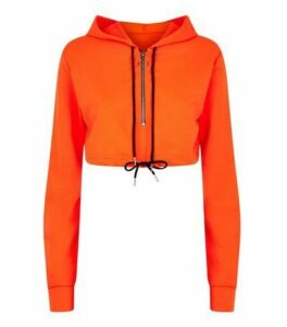 Cameo Rose Bright Orange Crop Hoodie New Look