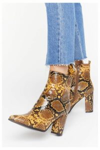 Womens We'Re In Hiss Together Faux Leather Snake Boots - Yellow - 8, Yellow