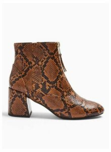 Womens Belle Brown Snake Print Zip Front Boots, BROWN