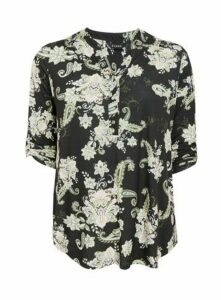 Black Floral Print Shirt, Dark Multi