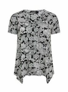 Monochrome Paisley Print Pintuck T-Shirt, Black