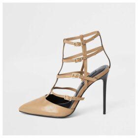 River Island Womens Light Brown caged skinny heel court shoe