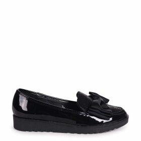 VIVIAN - Black Lizard & Patent Chunky Slip On Shoe with Fabric Bow