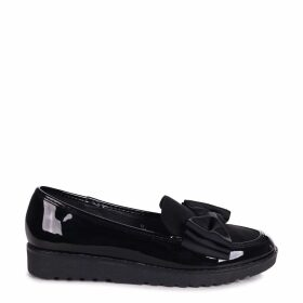 VIVIAN - Black Suede & Patent Chunky Slip On Shoe with Fabric Bow