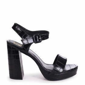 ARETHA - Black Croc Platform Barely There Heel