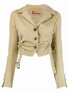 John Galliano Pre-Owned gathered cropped jacket - NEUTRALS