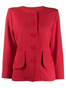 Yves Saint Laurent Pre-Owned loose collarless jacket - Red