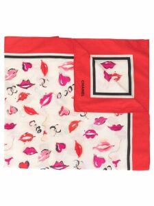 Chanel Pre-Owned CC lips logo scarf - Red