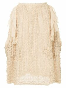 Comme Des Garçons Pre-Owned ruffle-trim floral-embroidered poncho -