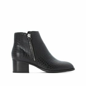 Mock Croc Ankle Boots with Side Zip and Block Heel