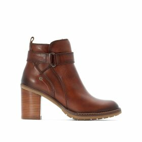 Pompeya Leather Ankle Boots with High Heel and Buckle