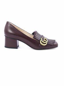 Gucci Bordeaux Leather Mid-heel Pump
