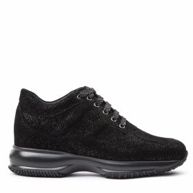 Hogan Interactive Black Shiny Black Nubuck Sneakers