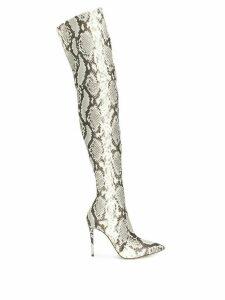 Casadei snakeskin effect thigh high boots - Black