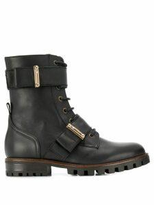 Anna Baiguera lace-up combat boots - Black