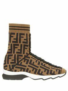 Fendi logo sock sneaker boots - Brown