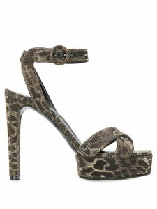 Casadei leopard heeled sandals - Brown