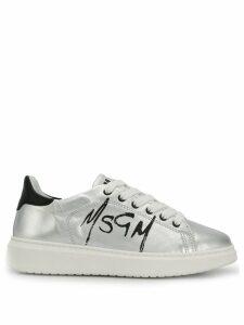 MSGM metallic logo print sneakers - Silver