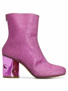 Maison Margiela crushed heel glitter ankle boots - PINK