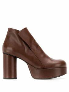 Jil Sander ankle leather platform booties - Brown